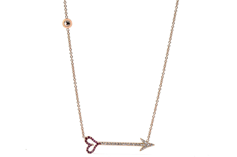 Cupid Arrow Necklace with Rubies and Diamonds