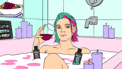 Computer drawing of a girl with pink and blue hair sitting in a bathtub with candles around her while she drinks wine and watches netflix on the tablet next to her. There are also bottles of Arctic Fox Hair Color dye floating in the water.