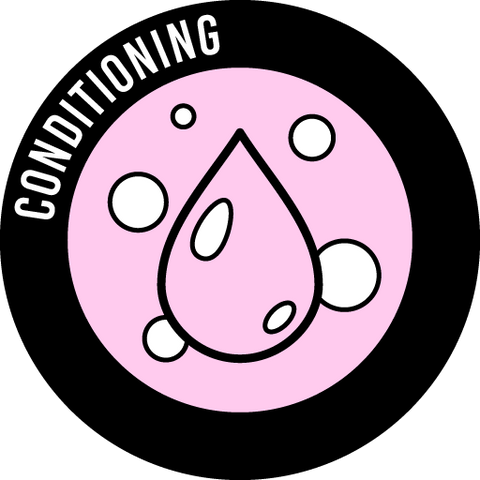 A round icon that says Conditioning and pictures a droplet surrounded by bubbles