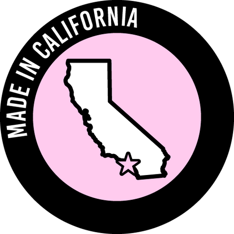 A round icon that says Made in California and pictures the state of California with a star over Arctic Fox's headquarters in Southern California.