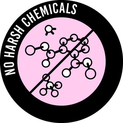 A round icon that says No harsh chemicals and pictures three molecules, ammonia, sulfate, and phthalate