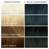 Chart showing what Arctic Fox Hair Colors's Blue Jean Baby vegan hair dye will look like on different levels of blonde hair.