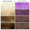 Chart showing what Arctic Fox Hair Color's Girls Night vegan hair dye will look like over different levels of hair.