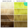 Chart showing what Arctic Fox Hair Color's Neon Moon vegan hair dye will look like over different levels of hair.