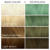 Arctic Fox Hair dye Color swatches showing cruelty-free semi-permanent hair dye on light blonde medium blonde brown hair neverland green mint chart
