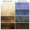 Chart showing what Arctic Fox Hair Color's Periwinkle vegan hair dye will look like over different levels of hair.