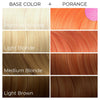 Chart showing what Arctic Fox Hair Color's Porange vegan hair dye will look like over different levels of blonde hair.