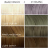 Chart showing what Arctic Fox Hair Color's Sterling vegan hair dye will look like over different levels of hair.