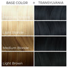 Chart showing what Arctic Fox Hair Color's Transylvania vegan hair dye will look like over different levels of blonde hair.