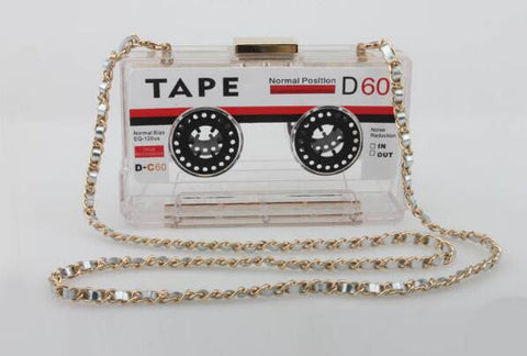 Cassette Tape Convertible Crossbody Clutch