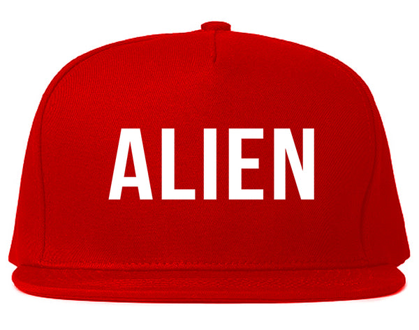 ALIEN bold simple funny Snapback Hat Red