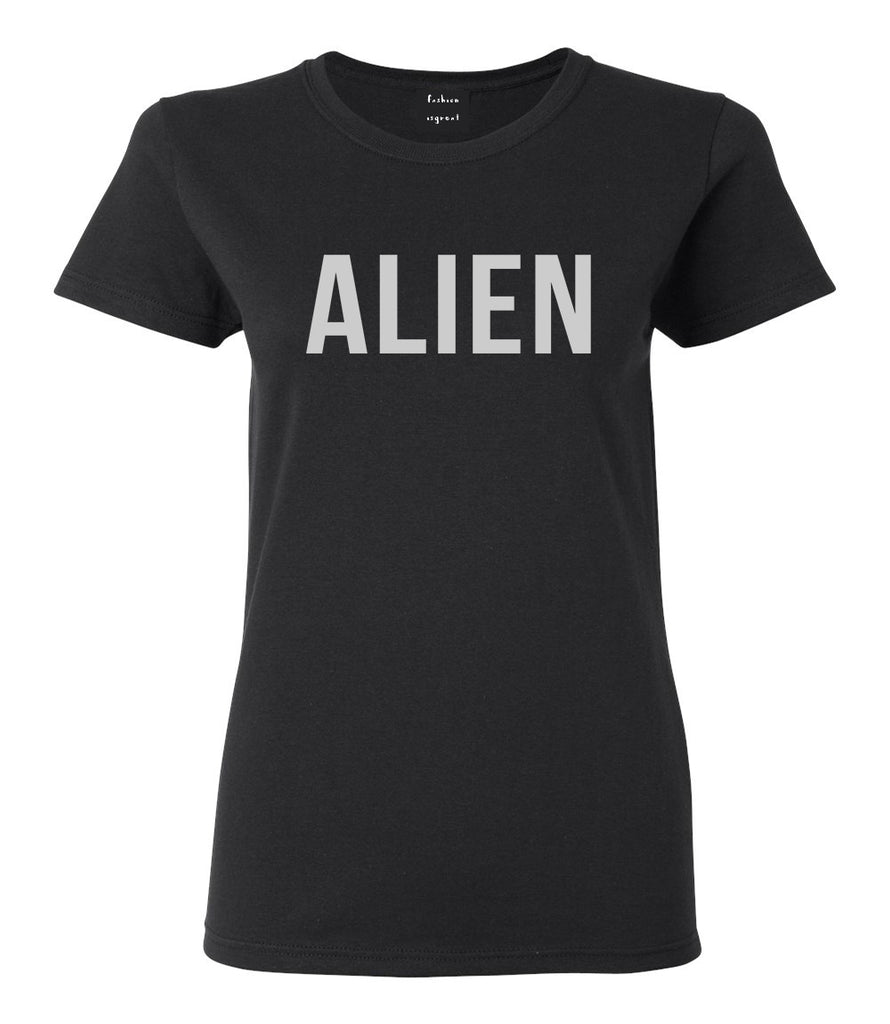 ALIEN bold simple funny Womens Graphic T-Shirt Black