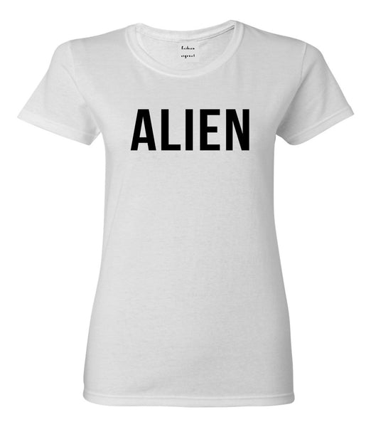 ALIEN bold simple funny Womens Graphic T-Shirt White