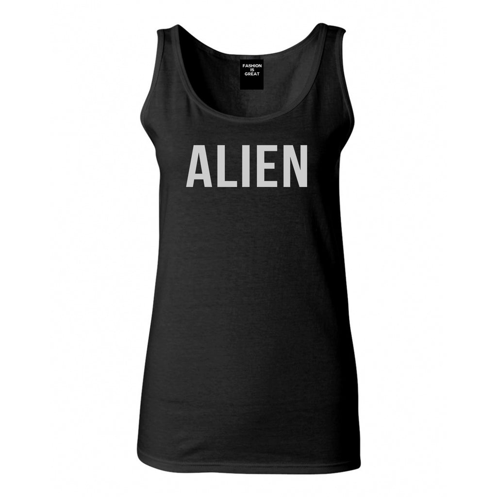 ALIEN bold simple funny Womens Tank Top Shirt Black
