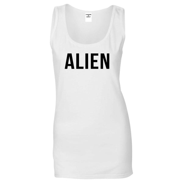ALIEN bold simple funny Womens Tank Top Shirt White
