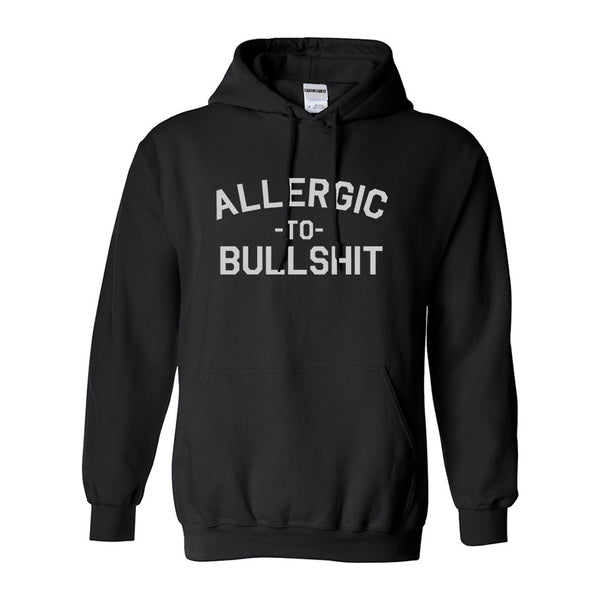 Allergic To Bullshit Funny Black Womens Pullover Hoodie