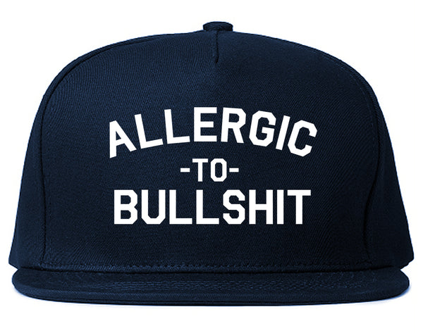 Allergic To Bullshit Funny Blue Snapback Hat