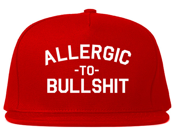 Allergic To Bullshit Funny Red Snapback Hat