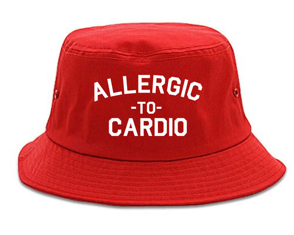 Allergic To Cardio Gym red Bucket Hat