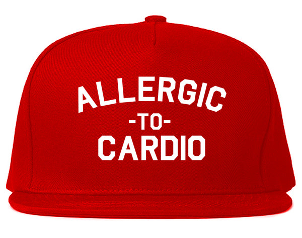 Allergic To Cardio Gym Red Snapback Hat