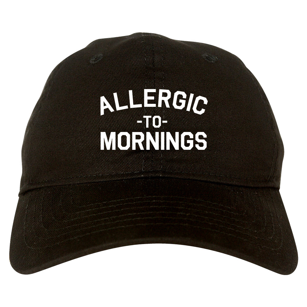 Allergic To Mornings Funny black dad hat