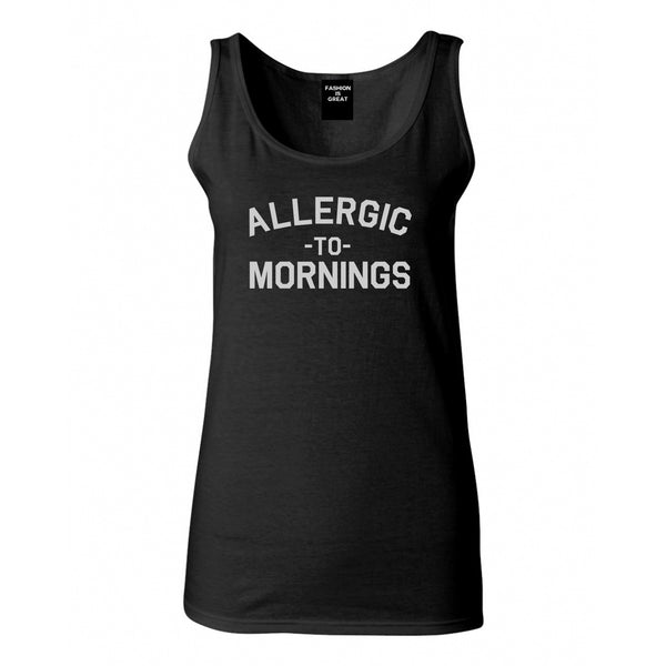 Allergic To Mornings Funny Black Womens Tank Top