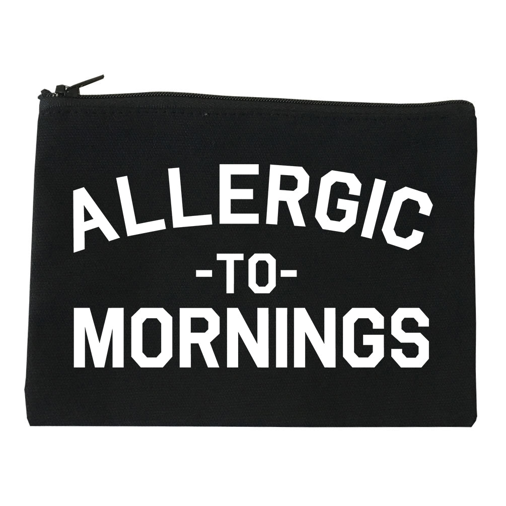 Allergic To Mornings Funny black Makeup Bag