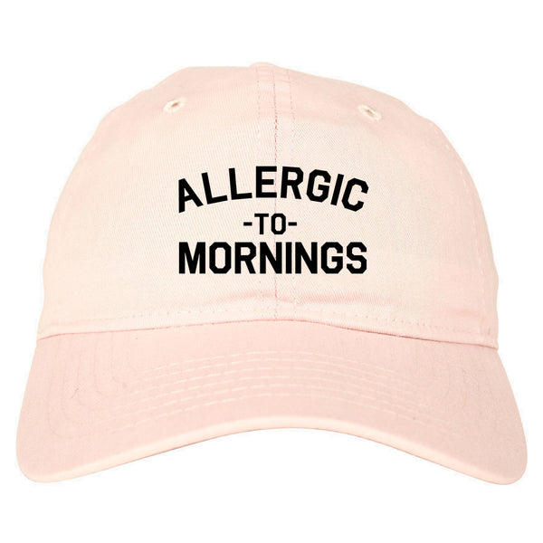 Allergic To Mornings Funny pink dad hat