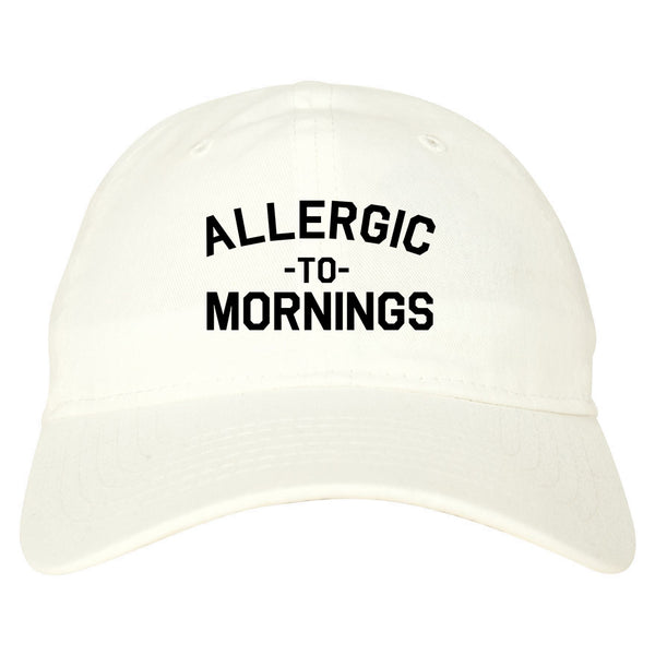Allergic To Mornings Funny white dad hat