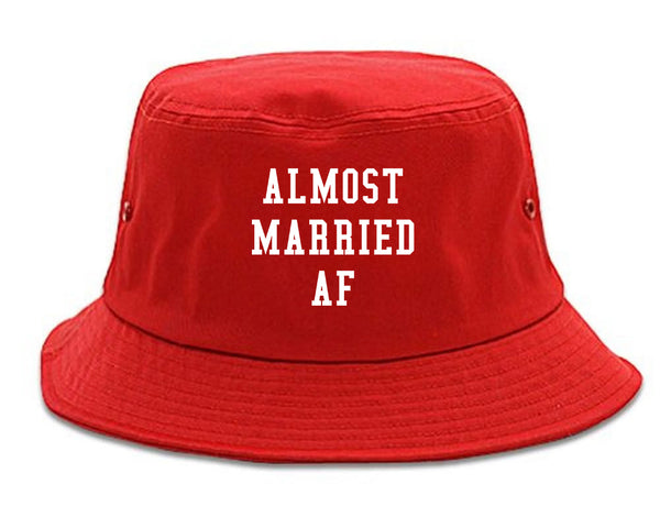 Almost Married AF Engaged red Bucket Hat