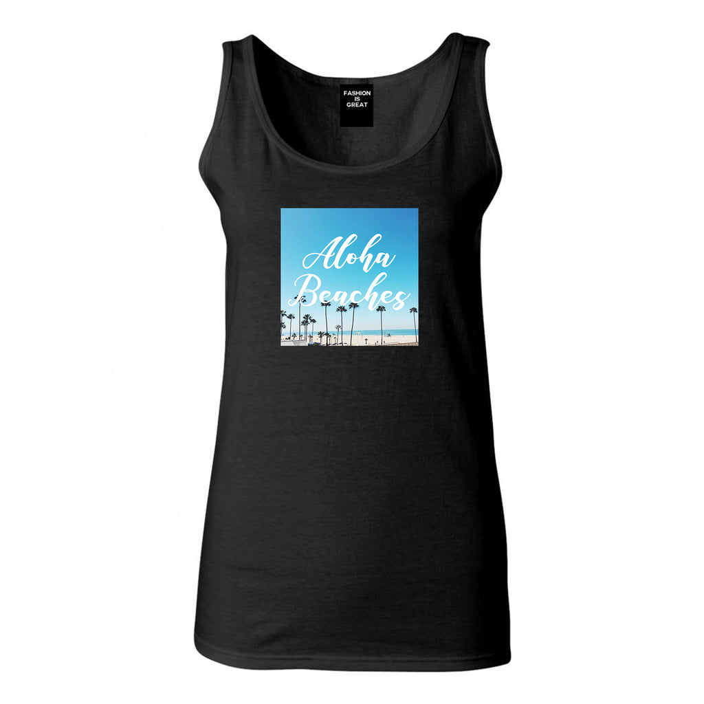 Aloha Beaches Beach View Black Womens Tank Top