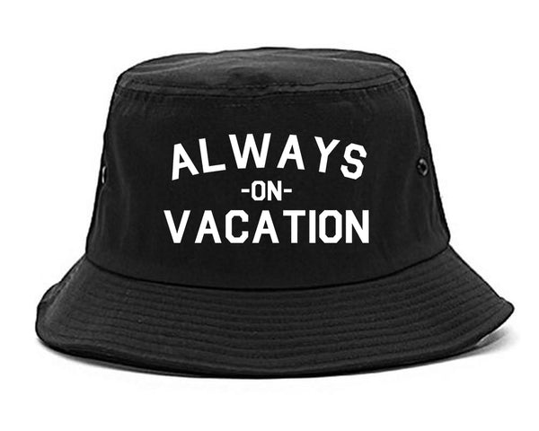 Always On Vacation Black Bucket Hat