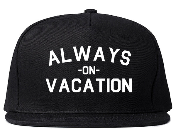 Always On Vacation Black Snapback Hat