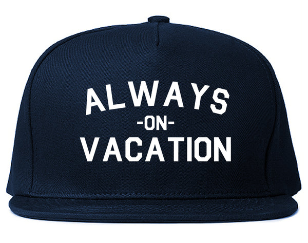 Always On Vacation Blue Snapback Hat