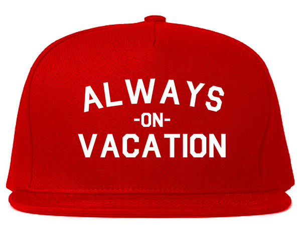 Always On Vacation Red Snapback Hat