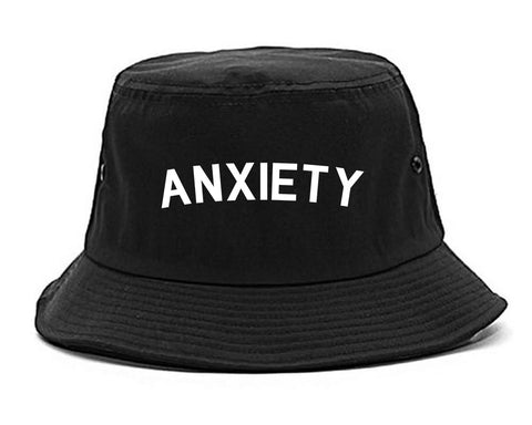 Anxiety Anxious Black Bucket Hat