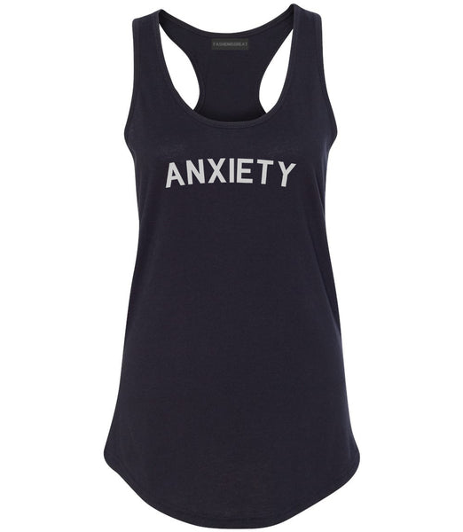 Anxiety Anxious Black Racerback Tank Top