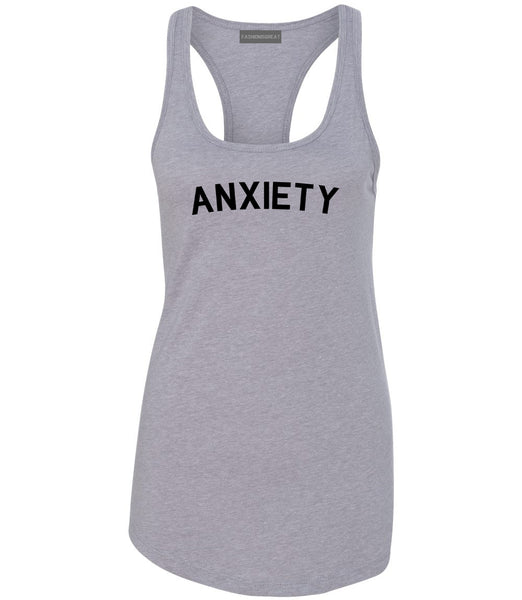 Anxiety Anxious Grey Racerback Tank Top