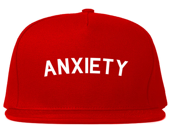 Anxiety Anxious Red Snapback Hat