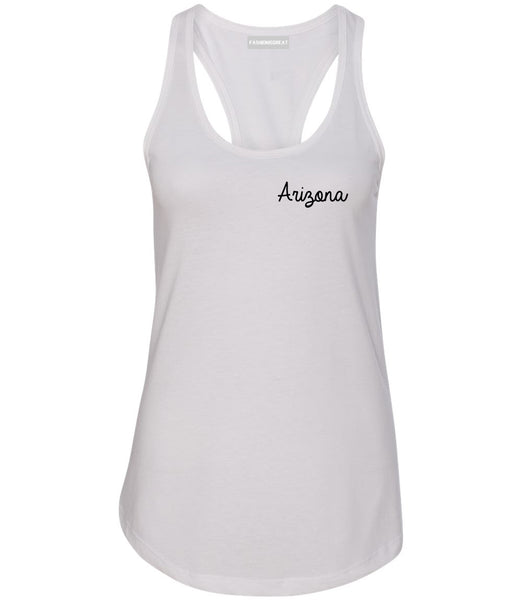 Arizona AZ Script Chest White Womens Racerback Tank Top