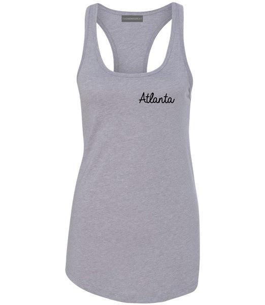 Atlanta ATL Script Chest Grey Womens Racerback Tank Top