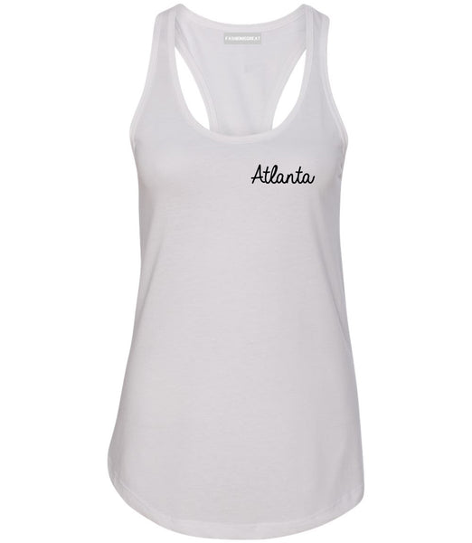 Atlanta ATL Script Chest White Womens Racerback Tank Top