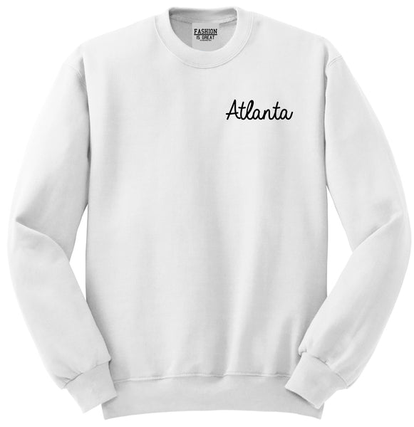 Atlanta ATL Script Chest White Womens Crewneck Sweatshirt