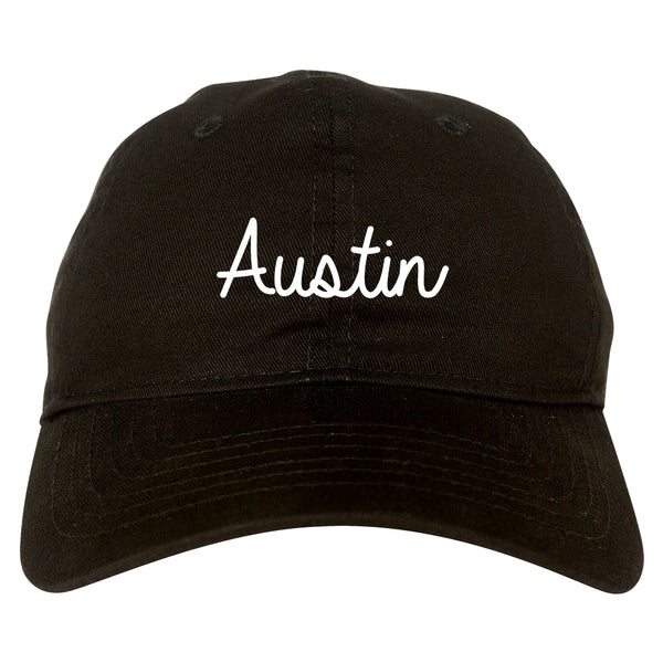 Austin Texas Script Chest black dad hat