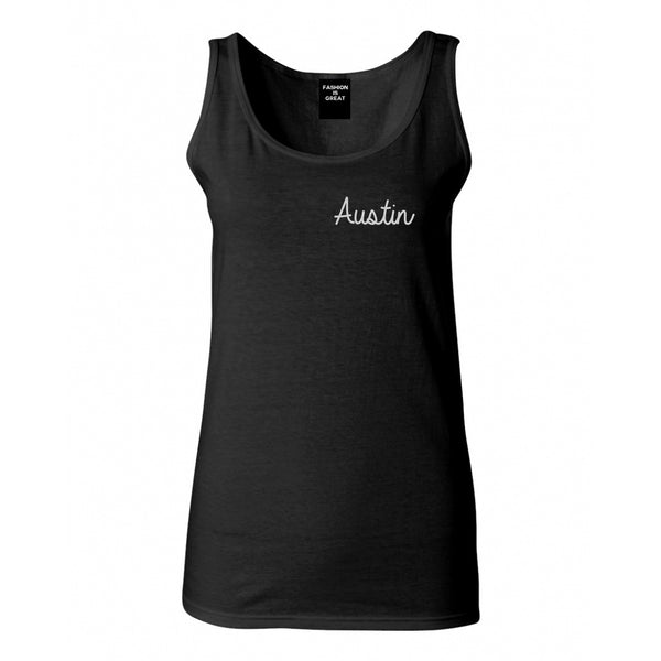 Austin Texas Script Chest Black Womens Tank Top