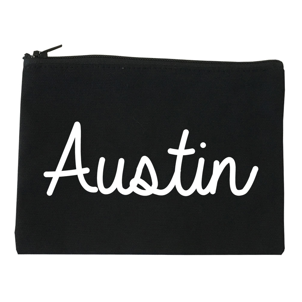 Austin Texas Script Chest black Makeup Bag