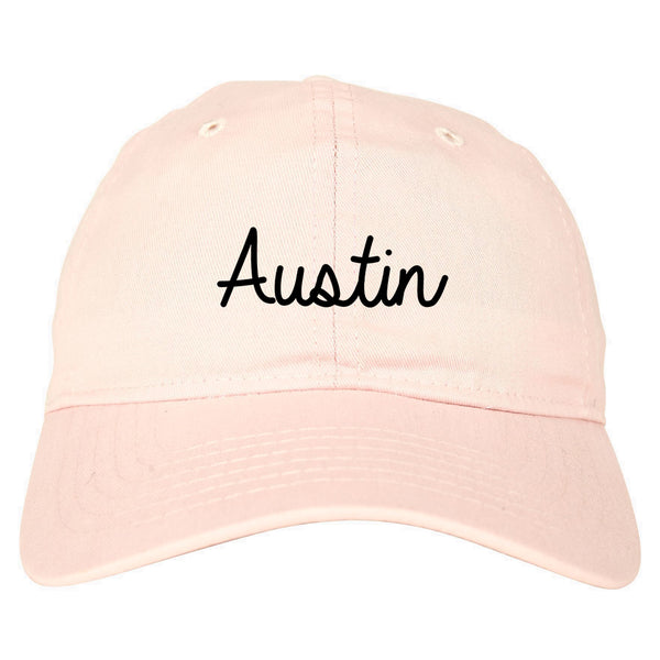 Austin Texas Script Chest pink dad hat