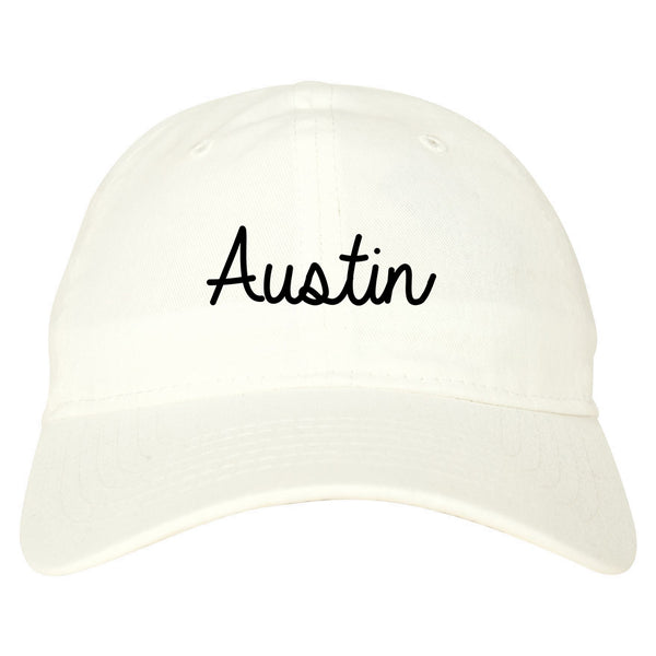 Austin Texas Script Chest white dad hat