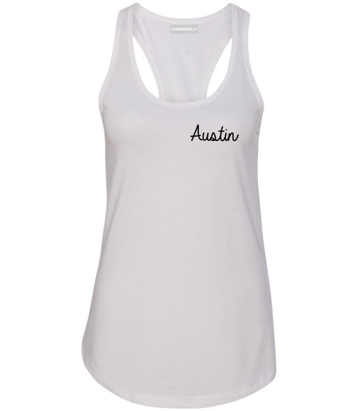 Austin Texas Script Chest White Womens Racerback Tank Top