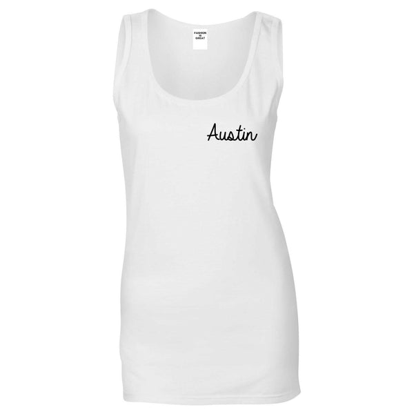 Austin Texas Script Chest White Womens Tank Top
